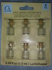 Miniature Glass Cork Lid Bottles - 6 Pack Mini Glass Containers Crafter's Square