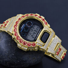 Ruby Red Solitaire Custom Authentic Casio G-Shock DW 6900 Yellow Gold Tone Watch
