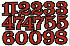 PLANCHE A4 TUNING QUAD 17 AUTOCOLLANT CHIFFRE ROUGE ET NOIR 5,5 X 4 CMS