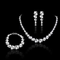 Elegant Pearl Crystal Wedding Party Prom Necklace Clip On Earrings Bracelet Set