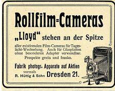 R.Hüttig & Sohn Dresden ROLLFILM-CAMERAS Historische Annonce 1904
