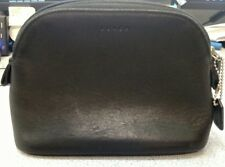COACH Black Leather Small/Mini Cosmetic Pouch Toiletry Makeup Travel Case Bag