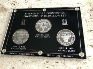Michael Jordan Chicago Bulls Silver Medallion Set Matched #9623 3 Troy Oz /1000