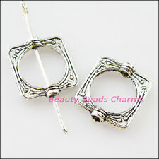 12Pcs Tibetan Silver Square Circle Spacer Frame Beads Charms 14x15.5mm