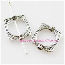 8Pcs Tibetan Silver Square Circle Spacer Frame Beads Charms 14x15.5mm