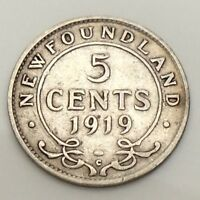 1919 Newfoundland 5 Five Cents Canadian Circulated Coin F541