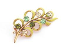 BEAUTIFUL VINTAGE GREEN YELLOW ENAMEL & RHINESTONES FLOWER BROOCH PIN 2.5
