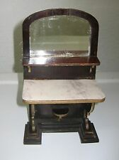 Antique German doll house furniture miniature hall stand mirror