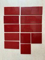 Lego: Lot de 11 Plaque plate Platen Couleur Rouge DkRed   Réf:3027, 3028, 41539