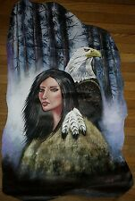 Original Painting On Cow Hide Young Indian Warrior Eagle Feathers Signed Galvan