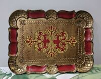 Vintage Gilded Italian Vanity Tray Mid Century Hand Painted Italy Toleware