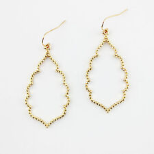 Gold Filigree Moroccan Cut Open Quatrefoil Clover Drop Chandelier Earrings Women