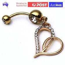 Love Heart Crystal Gold Gem Dangle Belly Button Ring Navel Piercing Stud Bar