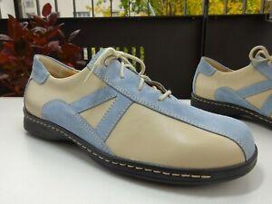 LADYSKO Damen Schuhe Leder Wildleder Creme Hellblau Austria Gr.42 Neuw
