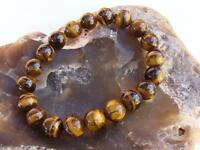 Natural Gemstone Men's Women's ELASTIC bracelet all 8mm Tiger Eye beads Gift