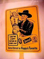 VINTAGE HAND FAN Hopalong Cassidy AND HIS HORSE -  BOND BREAD IS HOPPYS FAVORITE