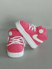 Babyschuhe / Turnschuhe gehäkelt ( Handarbeit ) pink,Weiss Neu !!!