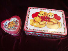 Rare~ 2 Lucy Rigg Enesco Tins with Bears and Hearts