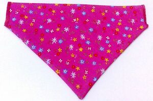Ditsy Pink  Dog Bandana - slips onto your dogs collar - 2 sizes available
