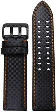 24mm PM Black Carbon Fiber Style Watch Band w Orange Stitch & 2 Tang PVD Buckle