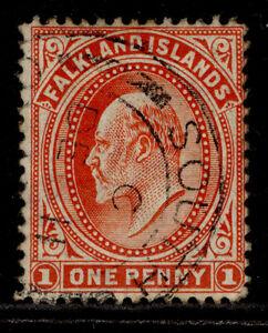 FALKLAND ISLANDS EDVII SG Z15, 1d vermilion, USED. Cat £23.