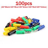 100 Pcs 4mm Lanterns Banana Plug  For Power Amplifiers Binding Post B4