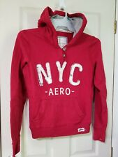 AEROPOSTALE WOMENS LARGE HOODIE SWEATSHIRT ZIP PULLOVER AERO LOGO JACKET RED NYC
