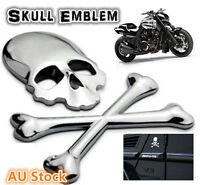 Skull Bone Devil Chrome Motorcycle Car Emblem Badge Decal Metal Sticker Silver