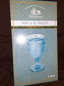 4 Country Chic Intricate Embossed Glass Turquoise Goblets 12 oz. NEW Teal