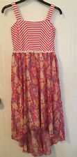 Girl's sleeveless dress size 14-16, pink, floral, fitted, hi-low, lined -346