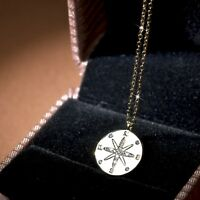 18k yellow gold made with Swarovski crystal guiding star round pendant necklace