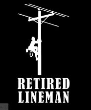 Retired Lineman Climbing Pole Car Decal  ***AVAILABLE 20 COLORS***