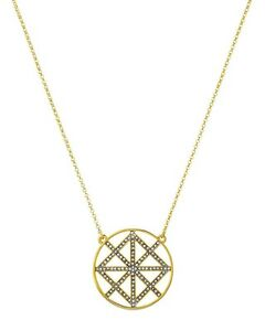 NWT Authentic Juicy Couture Gold-Tone Pave Lattice Round Pendant Necklace