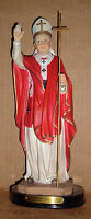 12 inch ST SAINT JOHN PAUL II the GREAT Pope Catholic Red Resin Wood Base