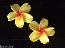 "Hawaiian Plumeria Flower Fimo Fashion Jewelry Stud Post Earring Yellow 1.5"" 38mm"