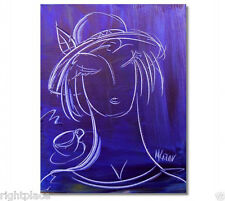 BLUE GIRL  ORIGINAL OIL Painting  Stretched IMPRESSIONIST  -new