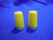 Vintage Canary Yellow Column Pillar Lipstick Salt and Pepper Shakers Plastic  55