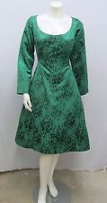 VINTAGE YVES SAINT LAURENT DRESS EMERALD GREEN PRINTED BIG BOW HIGH STYLE 44 6