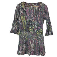 TOMMY BAHAMA Women's Top Lightweight Cotton Paisley Tunic Cover Up Small