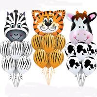 7pcs Animal Balloon Head Printed Foil Helium Latex Balloons Birthday Decor Tiger
