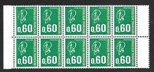 Variété N° 1814 a  en Bande de Carnet de 10 Neufs**  2 timbres visage absent RR