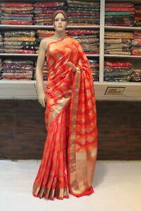 Indian Orange & Red Banarasi Silk Ethnic Saree Bollywood Sari Bridal Party Dress