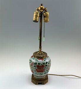 Antique Chinese Porcelain 2-Socket Lamp, Rust & Green Enamel Dragons Lotus