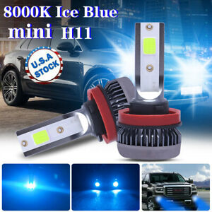 2x Ice Blue 8000K H11 H8 H9 COB LED Bulbs for Low Beam Headlight Conversion Kit