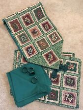 13 Piece Tapestry Table Runner Placemat Set Green