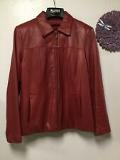 Ladies burgundy leather jacket sz M zipout Thinsulate lining Wilson Leather 53