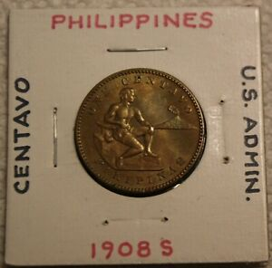 1908S PHILLIPPINES CENTAVO COIN US ADMINISTRATION