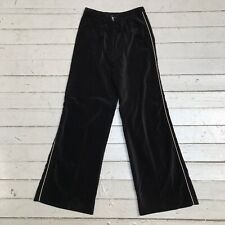 Vintage Black Cotton Velvet Pants White Racing Stripe labeled Size 8 Estimated S