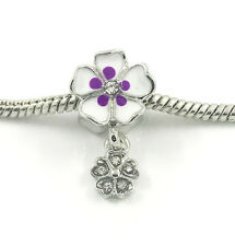 1pcs Flower Silver European Charm Crystal Spacer Beads Fit Necklace Bracelet NEW