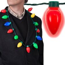 LED Light Up Christmas Bulb Necklace Party Favors for Adults or Kids Holiday
